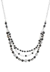Multi Row Black and White Necklace