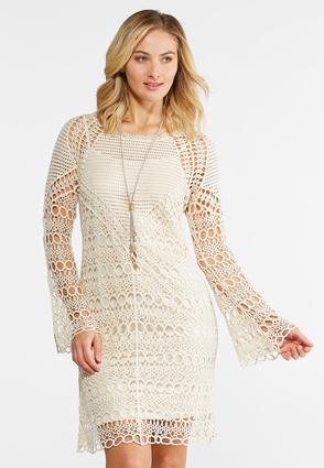 Crochet Bell Sleeve Dress | Tuggl