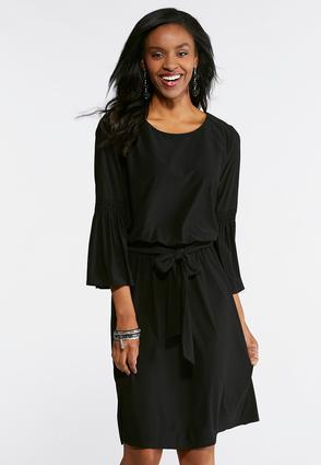 Tie Waist Bell Sleeve Knit Dress | Tuggl