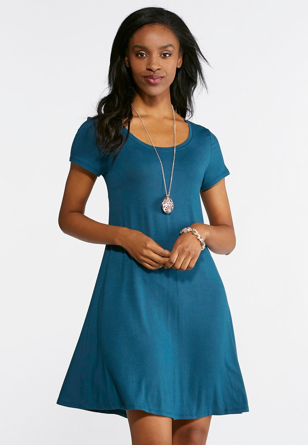 Plus Size Cinched Tie Back Swing Dress Plus Sizes Cato Fashions