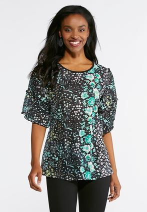 Floral Stretch Ribbed Top