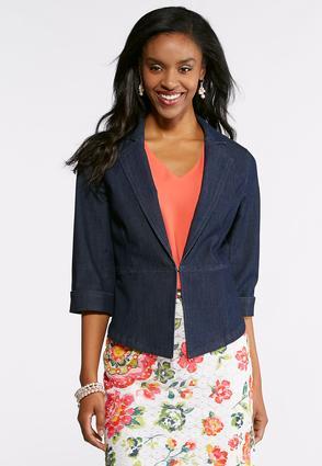 Plus Size Woven Denim Blazer | Tuggl