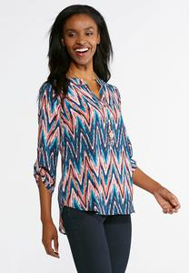 Plus Size Brushed Chevron Top