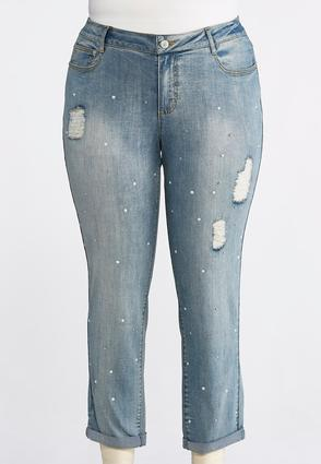 Plus Size Distressed Pearl Embellished Jeans | Tuggl