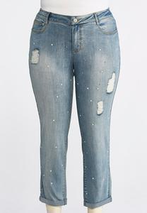 Plus Size Distressed Pearl Embellished Jeans