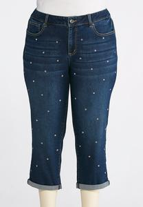 Plus Size Cropped Rhinestone Jeans