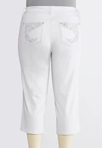 Plus Size Cropped Silver Embellished Jeans