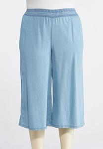 Plus Size Chambray Wide Leg Crops