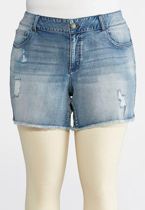 Plus Size Distressed Rhinestone Denim Shorts