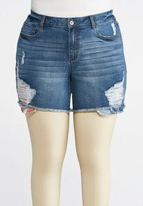Plus Size Distressed Americana Denim Shorts