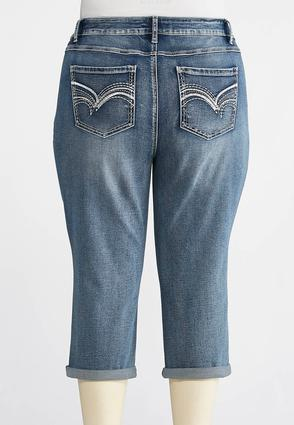 Plus Size Cropped Silver Stitch Jeans