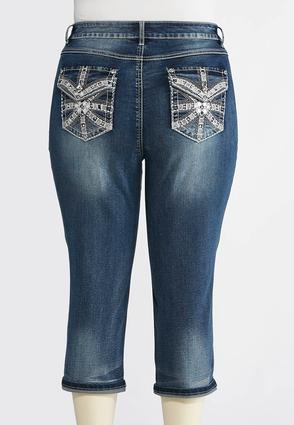 Plus Size Studded Pocket Cropped Jeans | Tuggl