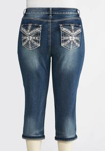 Plus Size Studded Pocket Cropped Jeans