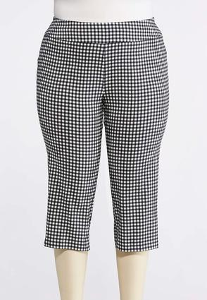 Plus Size Cropped Black And White Gingham Crops | Tuggl