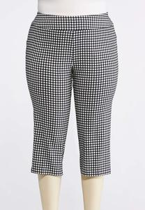 Plus Size Cropped Black And White Gingham Crops