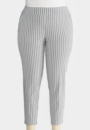 Plus Size Striped Skinny Ankle Pants