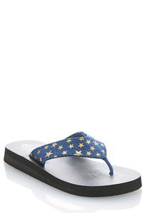 Denim Star Platform Flip Flops