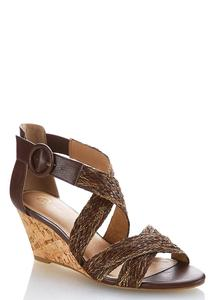Woven Cross Band Wedges