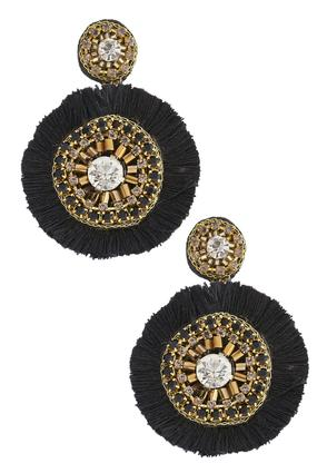 Gold Fringed Statement Earring