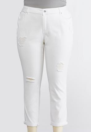 Plus Size Distressed White Ankle Jeans | Tuggl