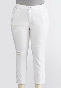 Plus Size Distressed White Ankle Jeans