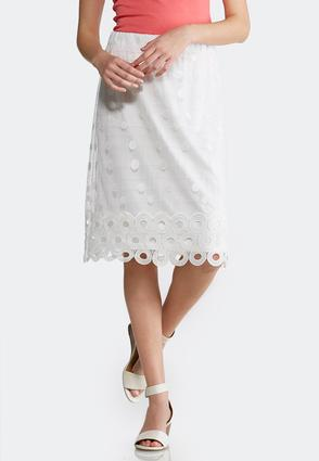 Embellished White Mesh Skirt