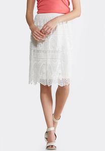 Plus Size Scalloped Lace Midi Skirt