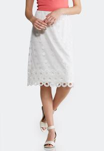 Plus Size Embellished White Mesh Skirt