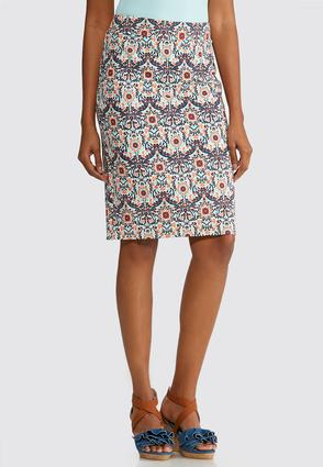 Plus Size Floral Medallion Midi Skirt at Cato in Mcminnville, TN | Tuggl