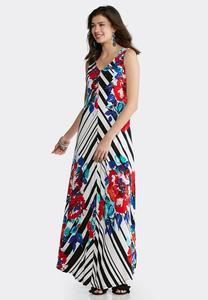 Plus Size Striped Floral Maxi Dress