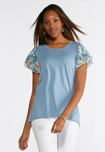 Plus Size Spring Breeze Printed Sleeve Top