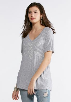 Plus Size Embroidered V- Neck Tee