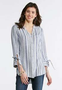 Plus Size Blue Striped Linen Shirt