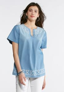 Plus Embroidered Chambray Top