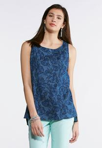 Plus Size Blue Floral Button Back Tank