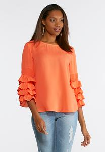 Tiered Ruffled Sleeve Poet Top