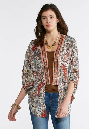 Embellished Paisley Kimono-Plus | Tuggl
