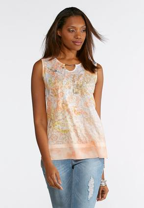 Plus Size Embellished Floral Layered Tank