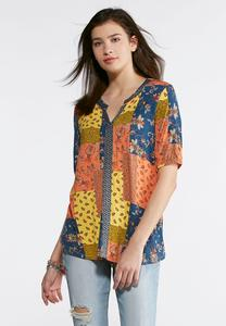 Plus Size Citrus Floral Patchwork Top