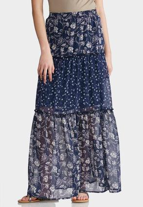 Tiered Mixed Floral Maxi Skirt