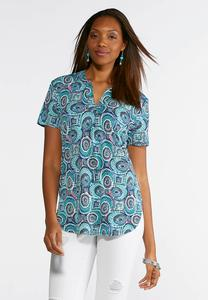 Green Swirl Popover Top