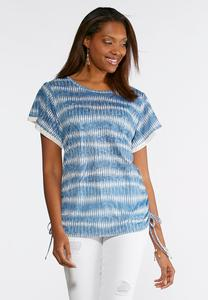 Burnout Lace Trim Top