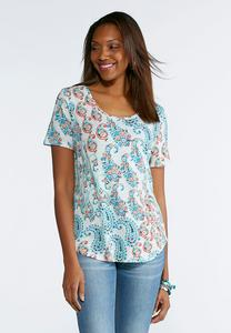 Paisley Scoop Neck Top