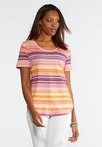 Plus Size Canyon Stripe Scoop Neck Top
