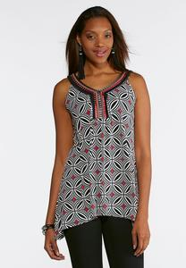Plus Size Striking Mixed Embellished Top