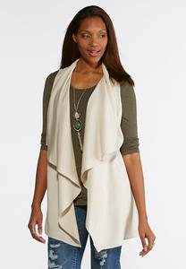 Plus Size Natural Drape Front Vest