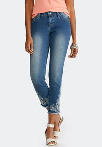 Embroidered Frayed Hem Jeans