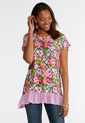 Checkered Floral Ruffled Hem Top