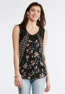 Lacy Mixed Print Tank