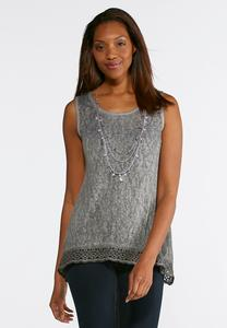 Lace Trim Hacci Knit Tank